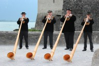 Alpine horn players in Montreux, Switzerland
